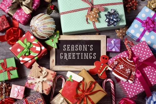 Poster gifts, christmas ornaments and text seasons greetings