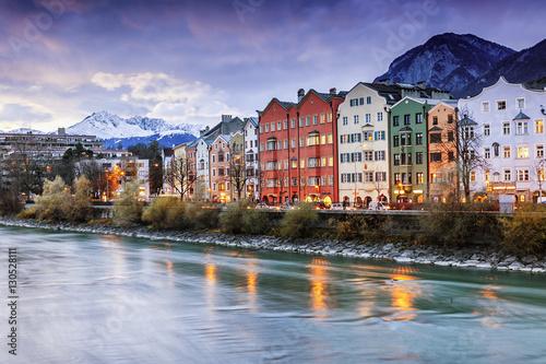 Foto op Canvas Beautiful cityscape. Innsbruck at night, Austria. Popular holida