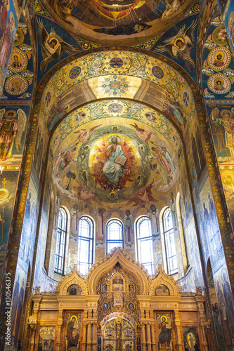 In de dag Barcelona Interior of the Church of the Savior on Spilled Blood in St. Petersburg, Russia.