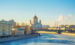 View of the Cathedral of Christ the Saviour and Moskva River in winter