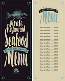 vector seafood menu for pirate restaurants with fish skeleton and Price
