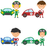 Vector collection of racing drivers and sport cars