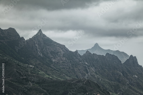 Gloomy mountain landscape. Matte photo processing. - 130563592