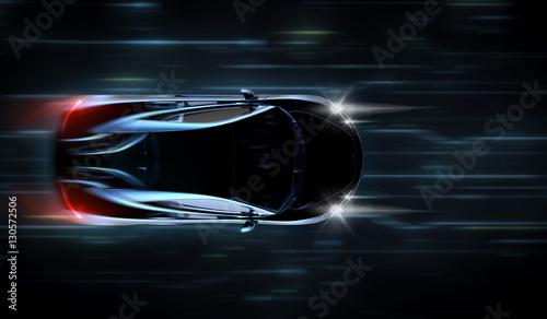 Wysoki prędkość czarny samochód sportowy - futurystyczny koncepcja (z grunge nakładki) - 3d ilustracji