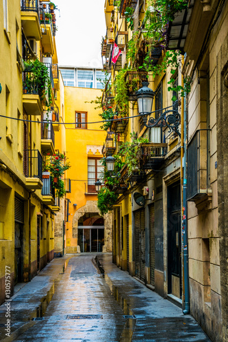 view of a narrow street situated in the historical centre of spanish city Valencia