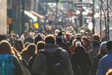Crowd of people walking on a street - 130586362