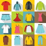 Different clothes icons set. Flat illustration of 16 different clothes items vector icons for web - 130598125