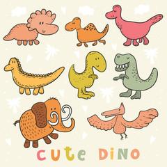 Cute hand drawn dinosaurs set. vector print