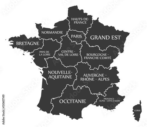 France Map labelled black