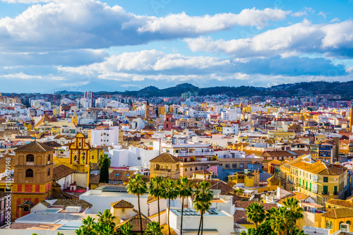 aerial view of the spanish city malaga and rooftops of the old town and adjacent residential district