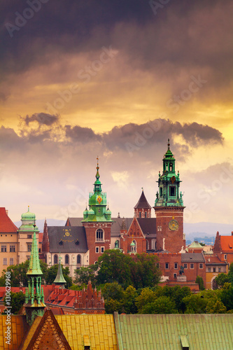 Panoramic view of Wawel Castle from clock tower in the main Market Square, Cracow, Poland. Aerial view