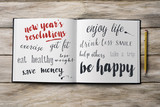 some new years resolutions in a notebook