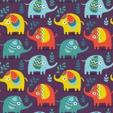 Seamless pattern with elephants, plants, jungle