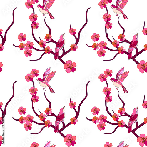 Cotton fabric Japanese seamless pattern with birds and sakura branches on a white background.