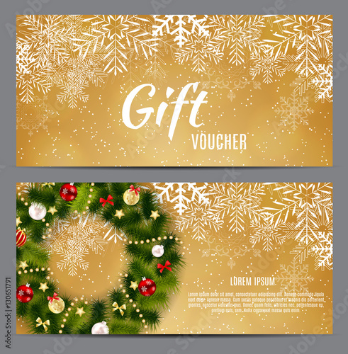 Keuken foto achterwand Boodschappen Christmas and New Year Gift Voucher, Discount Coupon Template Ve
