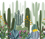 Seamless pattern with cactus, agave, and opuntia.