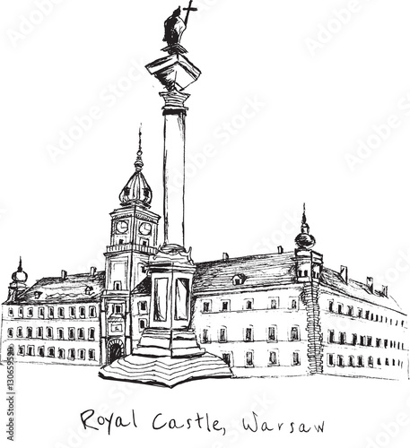 Hand drawn Royal Castle in Warsaw on white background - 130659590