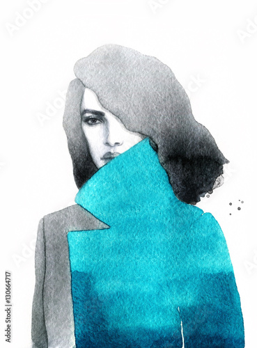 Beautiful woman portrait. Abstract fashion watercolor illustration - 130664717