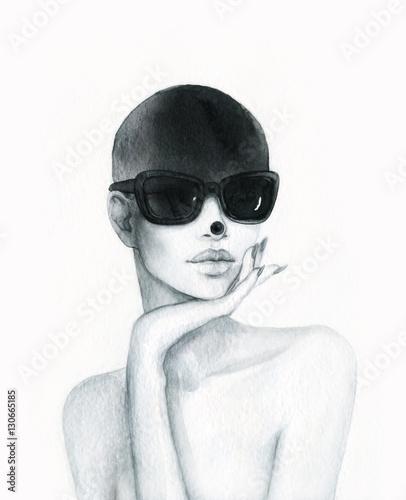 Beautiful woman portrait. Abstract fashion watercolor illustration - 130665185