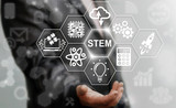 Fototapety Business STEM concept. Science Technology Engineering Math education web icon. Man offer stem word sign on virtual screen.