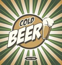 Cartel de la cerveza Retro ilustración de diseño vectorial.
