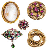 Antique and well worn gold jewelry - cameo,  amethyst, enamel, garnet and three-ring (lover's knot) gold brooches - 130671969