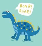 Fototapeta Dinusie - cartoon dinosaur vector illustration © neruda