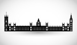 London Parliament and Big Ben silhouette vector - 130718946
