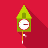Old wall clock icon. Flat illustration of old wall clock vector icon for web