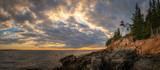 Bass Harbor lighthouse sunset panorama