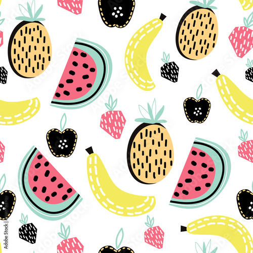 Modern fruit seamless pattern. Great for kids fabric, textile, etc. Vector Illustration - 130733752