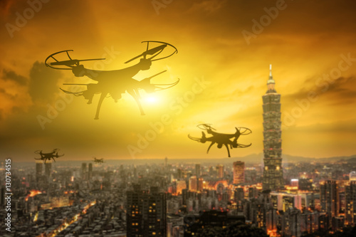 Poster drone flight in the city