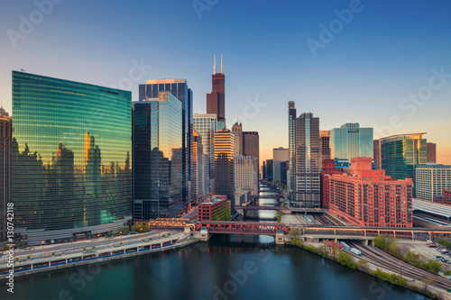 Chicago at dawn. Cityscape image of Chicago downtown at sunrise. Poster