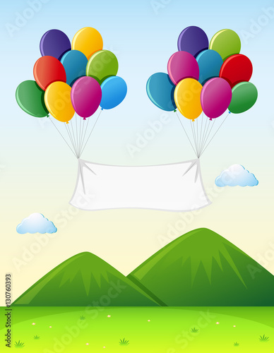 Fotobehang Lime groen Banner template with colorful balloons in sky