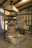 Ancient olive oil production machinery, mechanical manual press and stone oil container on Island Korcula in Croatia - 130768785