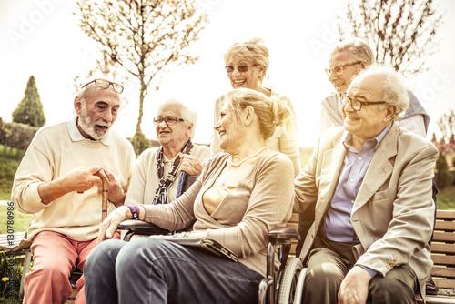 Seniors spending time at the park Poster