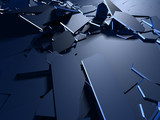 Cracked blue shiny demolition broken surface background