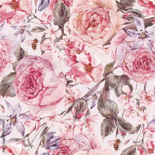 Cotton fabric Watercolor spring seamless border with english roses