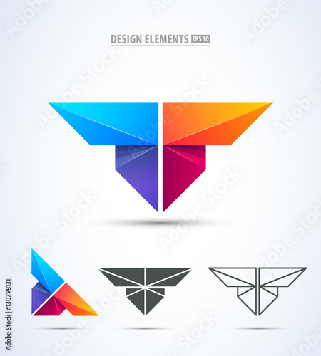 7ba5a8d4060beb Abstract vector letter t logo icon set. Wings, butterfly, airplane icons  collection.