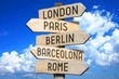 Wooden signpost - capital cities (London, Paris, Berlin, Barcelona, Rome) - great for topics like traveling etc.