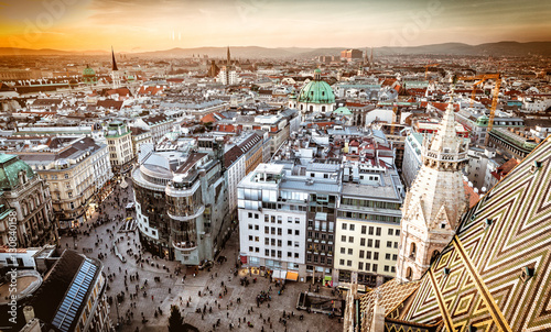 fototapeta na ścianę Vienna at sunset, aerial view from above the city
