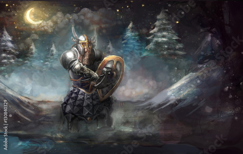 Dwarf knight on winter cold  © vukkostic