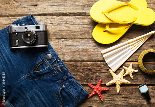 Plagát Summer women's accessories: yellow step-ins, denim shorts,  came