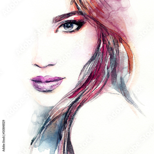 Woman portrait. Fashion illustration. Watercolor painting