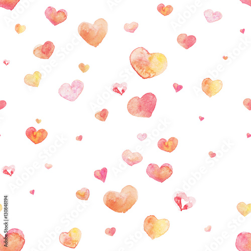 Cotton fabric Watercolor seamless Heart pattern