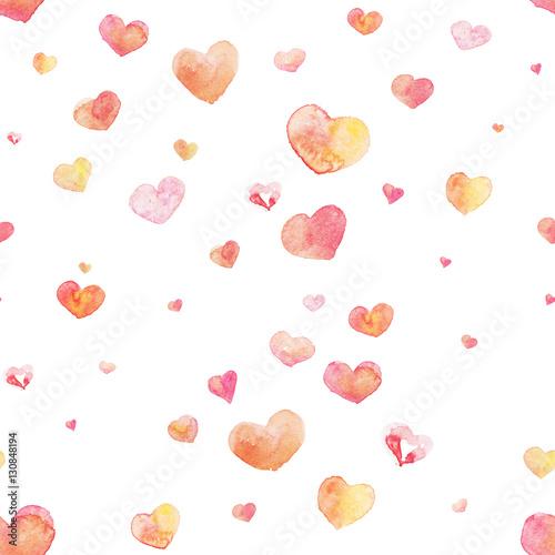 Cotton fabric Watercolor seamless Heart pattern