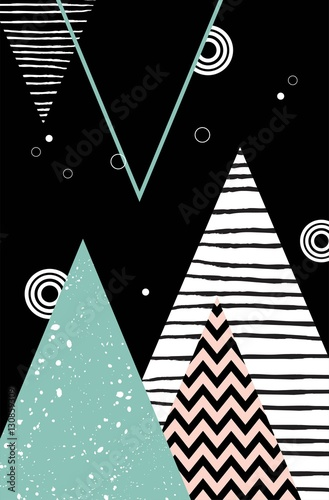 Abstract geometric Scandinavian style pattern with mountains, trees and triangles. - 130859309