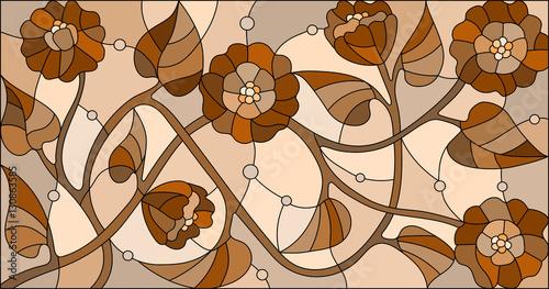 ilustracja-w-stylu-witrazu-z-kwiatami-monochromatyczny-sepia-orientacja-pozioma