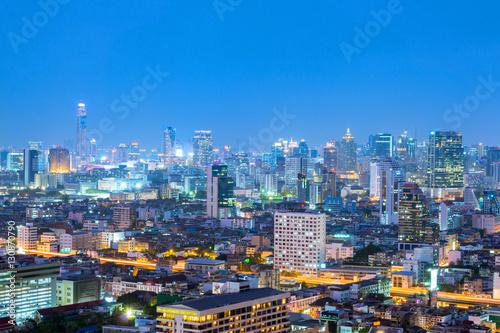 Poster Bangkok city skyline at night.