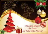 Nuestro equipo les desea un Feliz Año Nuevo - Tarjeta electrónica que se puede enviar en varias ocasiones: para la Nochebuena, como tarjeta de Navidad o para la celebración del Año Nuevo